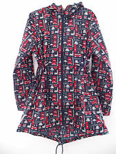 BNWT NAVY LONDON RED BUS PRINT PARKA IN A POCKET RAINCOAT MAC XS S M L PRIMARK