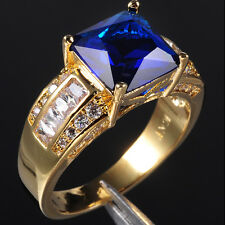 Size 9-13 Vintage NICE Mens Jewelry 10KT Yellow Gold Filled Tanzanite CZ Ring