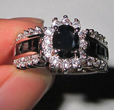 Size 8-11 Deluxe Lady Jewelry Black Sapphire 10KT White Gold Filled Wedding Ring
