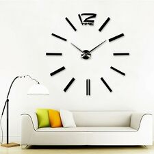 New Large Luxury 3D DIY Wall Clock Modern Home Living Room Space Decor Art Gift