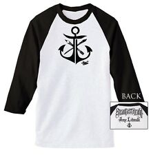 Mens Anchor by Jime Litwalk Artist Paint Brushes Tattoo Art Baseball T-Shirt