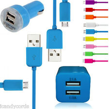 2A Micro USB Home Wall + Car Charger for Android Droid Samsung HTC LG 6 Ft 10Ft