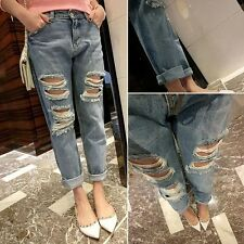 Womens JEANS Destroyed Ripped Distressed Skinny Boyfriend Acid Washed Cropped -S