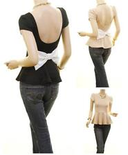 CELEBRITY Women SEXY Bow Peplum Open Back Stretchy Ponte Fitted Blouse Shirt Top