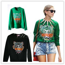Noble Retro Women's KENZO2 New European star show tiger pattern Fleece sweater