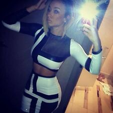 black white mesh crop top skirt two-piece set celeb draya michelle bodycon dress