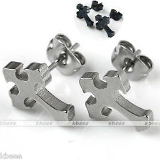 Silvery Black Cross Stainless Steel Ear Stud Mens Earring Punk Biker Cool Gift