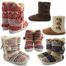 NEW LADIES DUNLOP SLIPPER BOOTS FAUX FUR LINING WINTER KNITTED BOOTIES UK SIZE