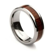 Titanium Band with Oak Wood Inlay, Sizes 7-13+ Half Sizes