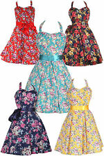 RETRO 50's STYLE FLORAL HALTER NECK ROCKABILLY VINTAGE SWING DAY DRESS UK 8-24