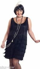 1920's Gatsby Flapper Black PLUS SIZE fancy dress Costume with Sequin HEADBAND