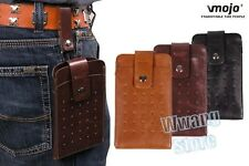Retro PU Leather Belt Holster Double Pouch Pocket Sleeve Bag Case For Cell Phone
