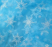 1 meter by the yard Frozen Elsa Snowflakes Printed Organza Fabric DIY 59""