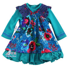 Catimini Style Autumn Girl's Long-Sleeve Dress Clothing Multi Color Faux 2 Piece