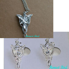 LOTR Lord Of The Rings Hobbit Arwen EVENSTAR Necklace Pendant Silver & Earrings