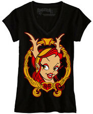 Women's Trophy Wife by Jime Litwalk Antlers Girl Tattoo Black T-Shirt