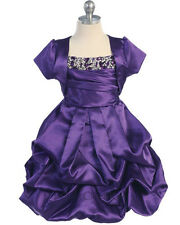 New Purple Satin Bubble Skirt Flower Girls Dress Party Pageant Christmas C145