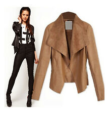 Chic Women Big Collar Lapel Slim Faux Leather Thin Jacket Coat Black Tan S-XXL