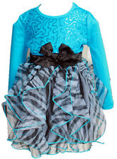 BNWT Beautees Girl Princess Holiday Leopard Blue Sequin Mesh TUTU Dress~2T To 6X