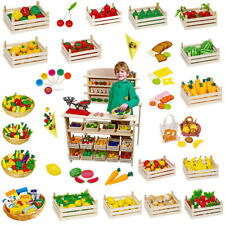Wooden Play Food for Kids Toy Market Stall Toddler & Preschool Early Learning