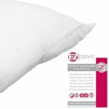 EZ Dreams Waterproof Pillow Protector: Queen Size, Allergen Barrier, Zippered