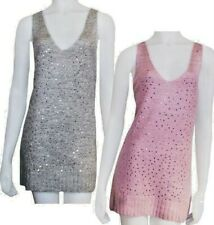 YESSICA PINK OR GREY SEQUIN TUNIC SOFT KNIT TANK TOP  8 10 12 14 16 18 20 22