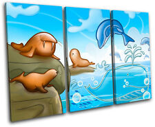 Dolphin Walrus Seal For Kids Room TREBLE CANVAS WALL ART Picture Print VA