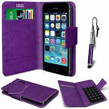 Purple Leather Suction Wallet Flip Mobile Phone Case For Various LG Models