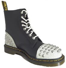 Dr Doc Martens 1460 Dai White Black Cristal Leather Boots Studded Punk