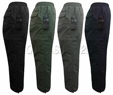 Mens Smart Elasticated Fleece Lined Cargo Combat Winter Trousers Thermal Pant