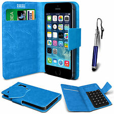 Blue Leather Suction Wallet Flip Mobile Phone Case For Various LG Models