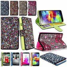 Diamond Bling Glitter Crystal Pu Leather Flip Wallet Case For Many Phones Model