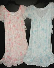 $60 MISS ELAINE Night Gown Night Shirt PLUS SIZE Sleepwear: Blue, Pink 1X 2X 3X