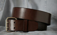 """Brown Mens Leather Belt 1.75"""" Wide 2 Prong Buckle Custom Handmade in USA"""