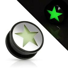 """Plug Tunnel 0.25"""" - 0.98"""" """"Fluorescent Star"""" New - Cool Body Of Piercing"""