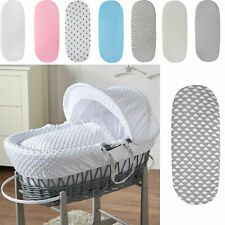 2 X MOSES BASKET DELUXE JERSEY FITTED SHEETS 100% COTTON 4 X COLOURS PACK OF 2!