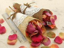 50 Wedding Confetti Cone with Paper Burlap & Doily DIY Set