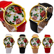 Fashion Women Classic Faux Leather Rose Flower Watch Analog Quartz Wrist Watches