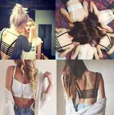 Charm celebrity Bralette Cage Caged Back Cut Out Padded Bra Bralet Crop Top TR