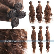 100% Virgin Brazilian Hair Brown Wave Remy Human Hair Extensions Bundle 100g #4