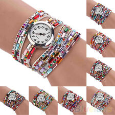Woman Exotic Multi-Layers Colorful Beads Crystals Quartz Bracelet Wrist Watch