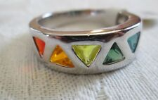 Gay Pride Stainless Steel Rainbow Triangle Freedom Pride Ring - Sizes 5-13