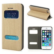 iphone 5 & 5s high quality leather wallet wood grain case