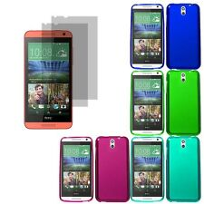 Crystal TPU Gel Skin Cover Case For HTC Desire 610 2x LCD Guard