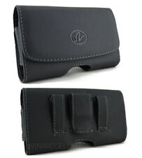 Black Leather Horizontal Sideways Belt Clip Case Holster for LG Cell Phones NEW!