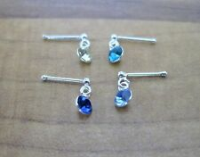 925 Sterling Silver - 1 x Dangling Crystal Nose Studs -Ball End & Pin - 20 Types