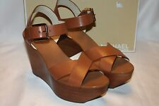 NEW! NIB! MICHAEL KORS Luggage Leather PEGGY Open Toe Platform Wedge $150