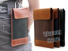 Velcro PU Leather Sleeve Pouch Case Bag Card Slot Cover For Cell Phone W/Buckle
