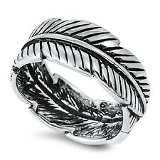Sterling Silver .925 Feather  Design  Ring (Oxidized)