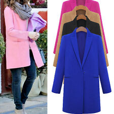 Fashion Womens WOOL Cashmere Long Winter Coat Trench Blazer Suit Parka Outwear